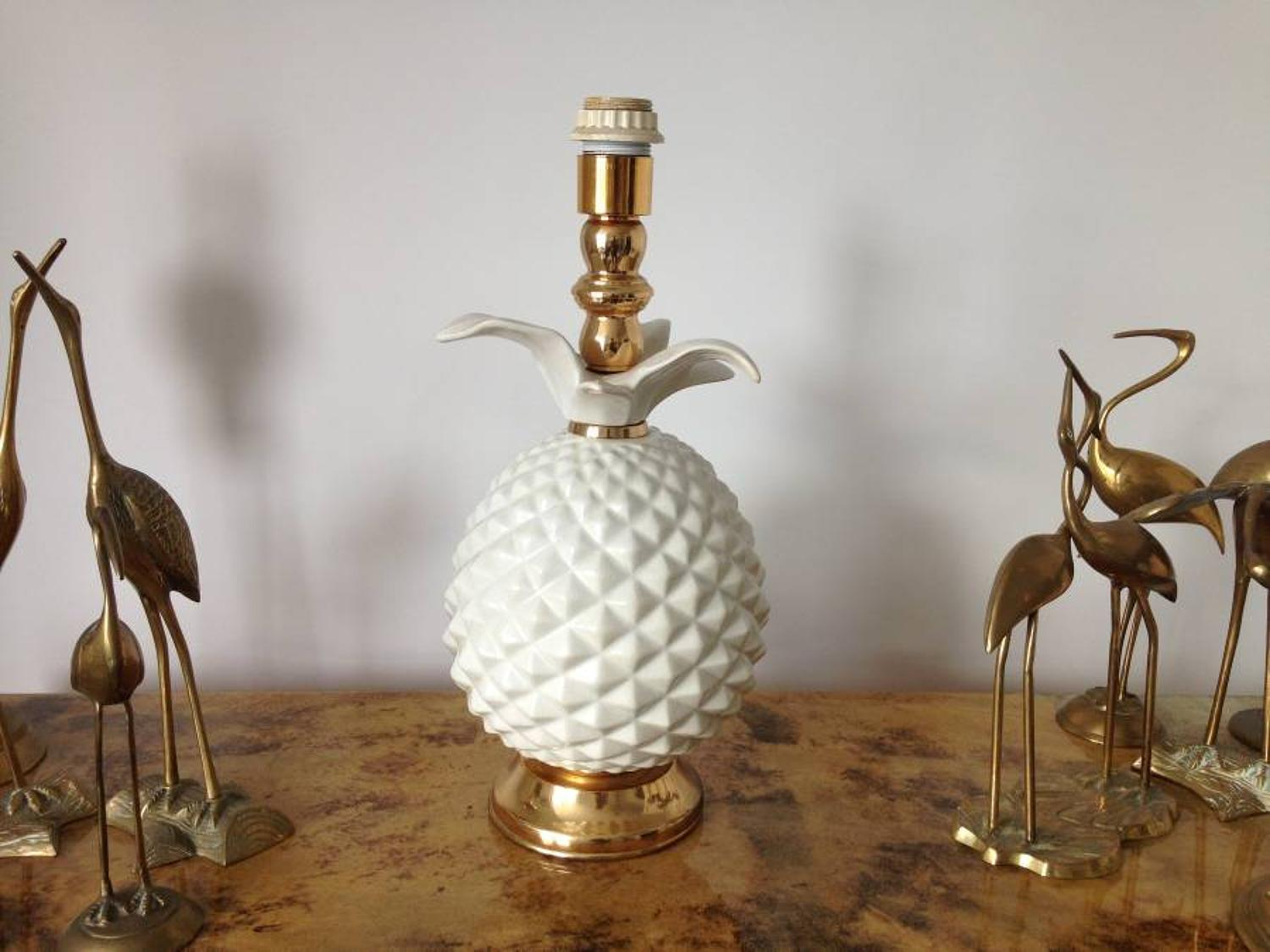 Italian ceramic pineapple and brass table lamp