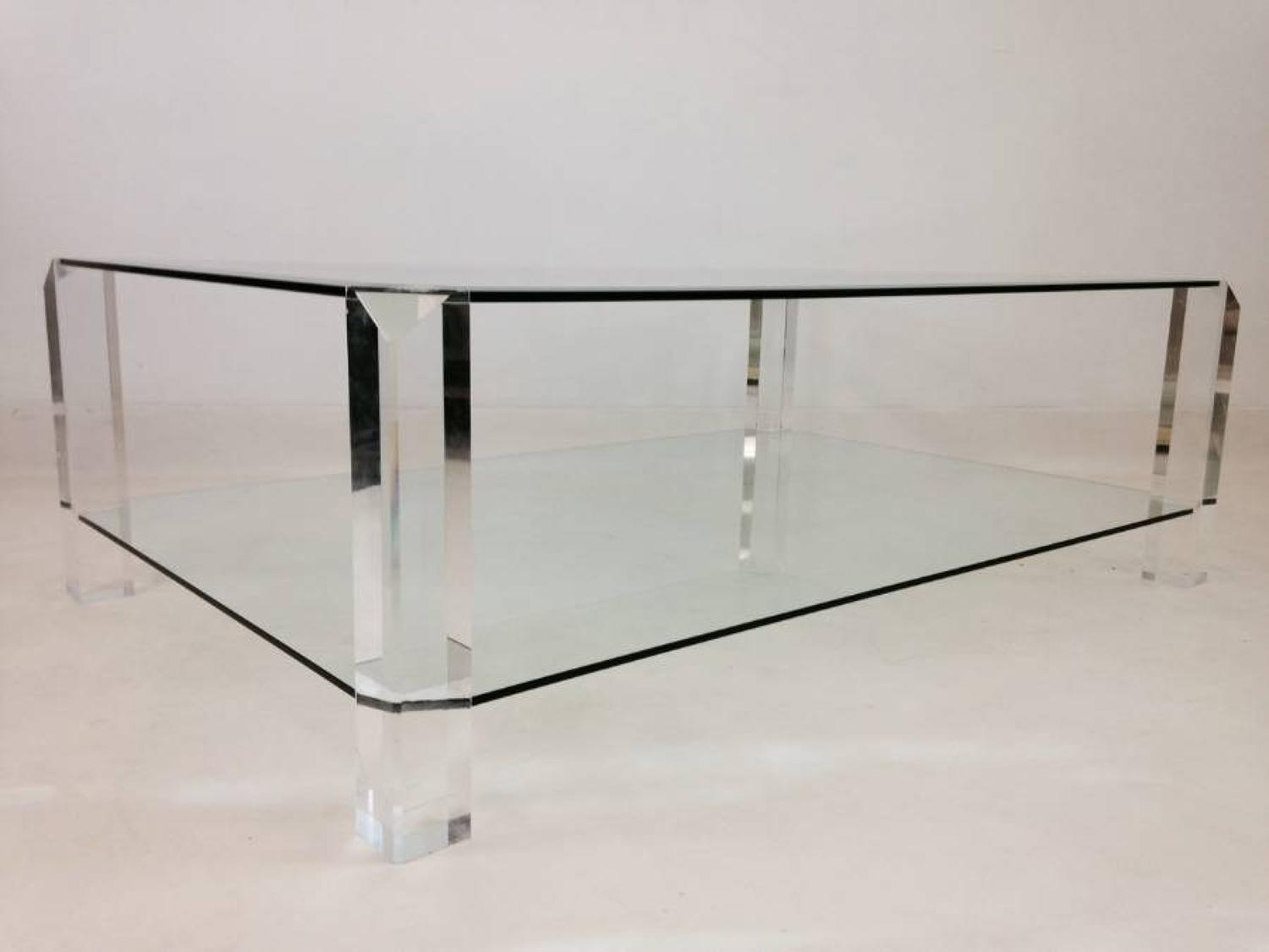 Two tier lucite and glass coffee table