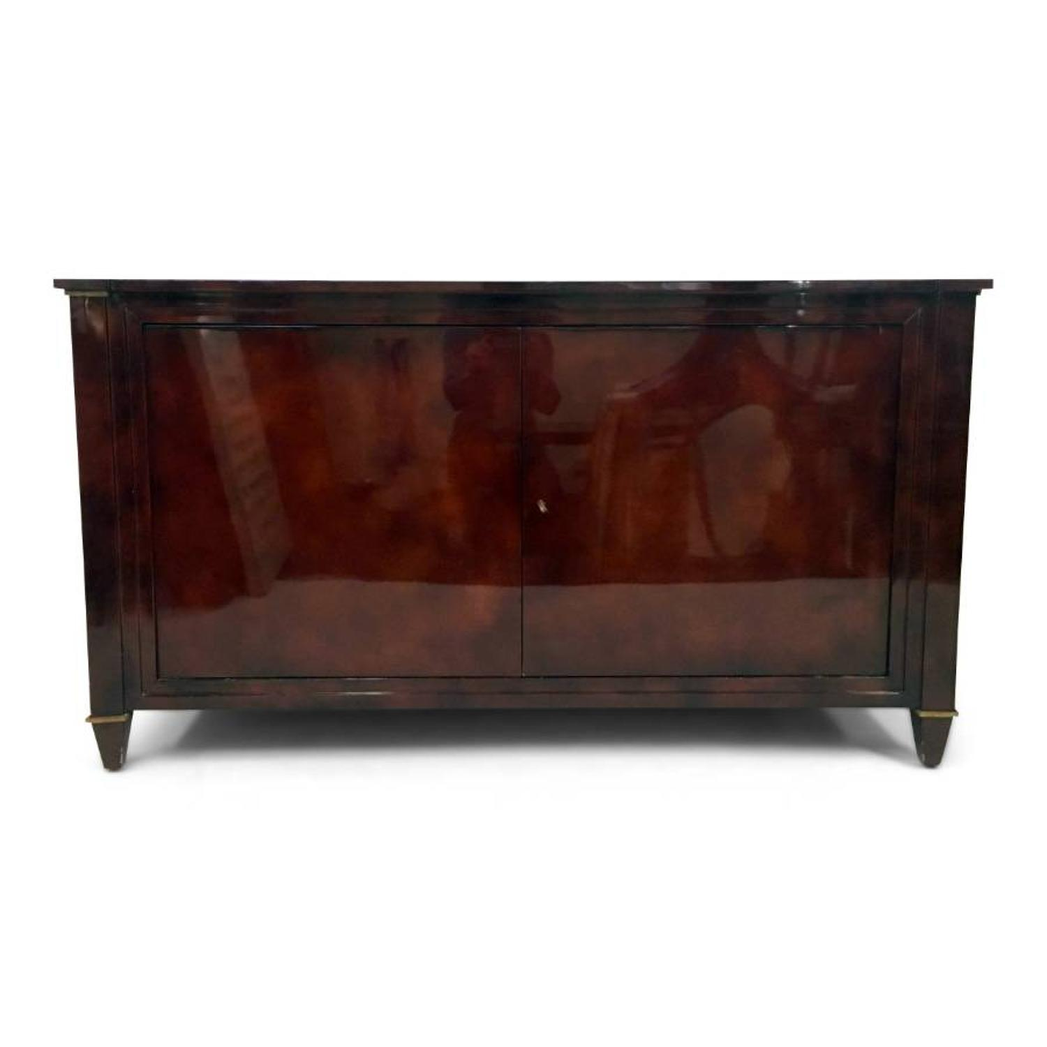 Red lacquered sideboard by Maison Ramsay