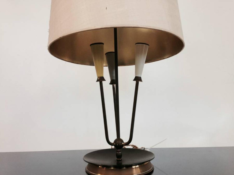 Brass, steel and enamel lamp