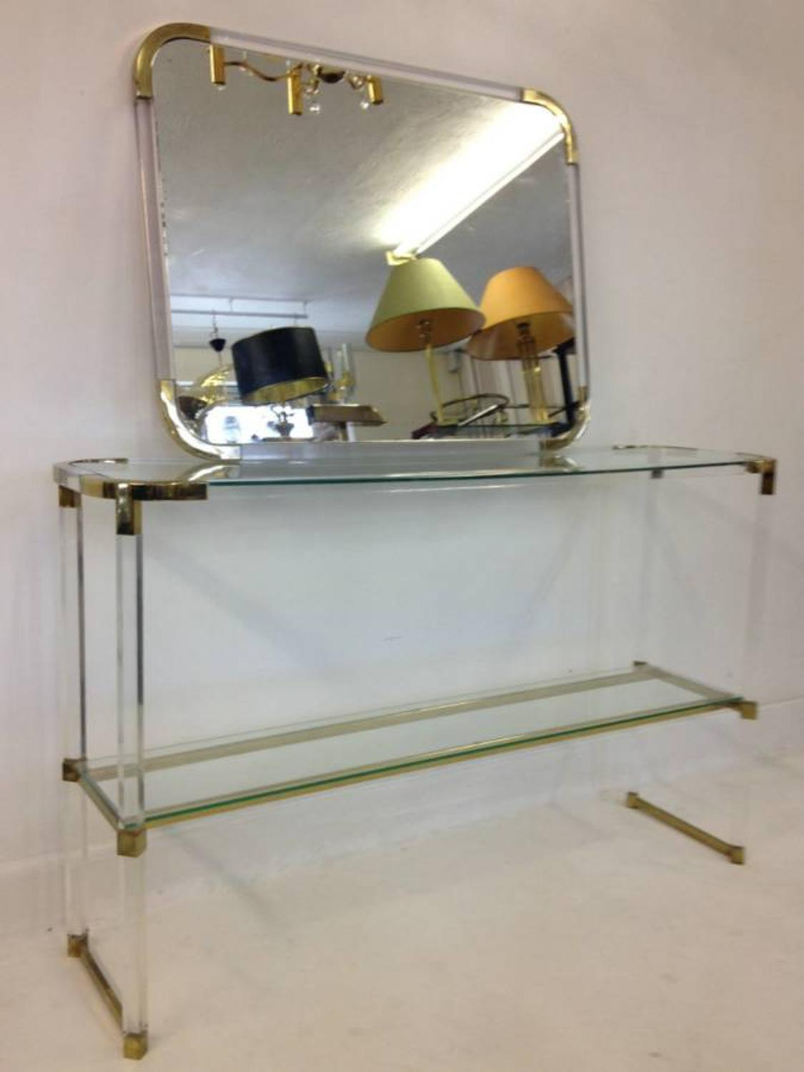 Lucite and gilt metal console table and mirror