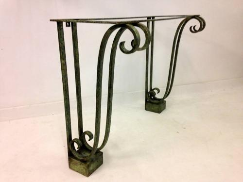 Wrought iron console with verdigris finish