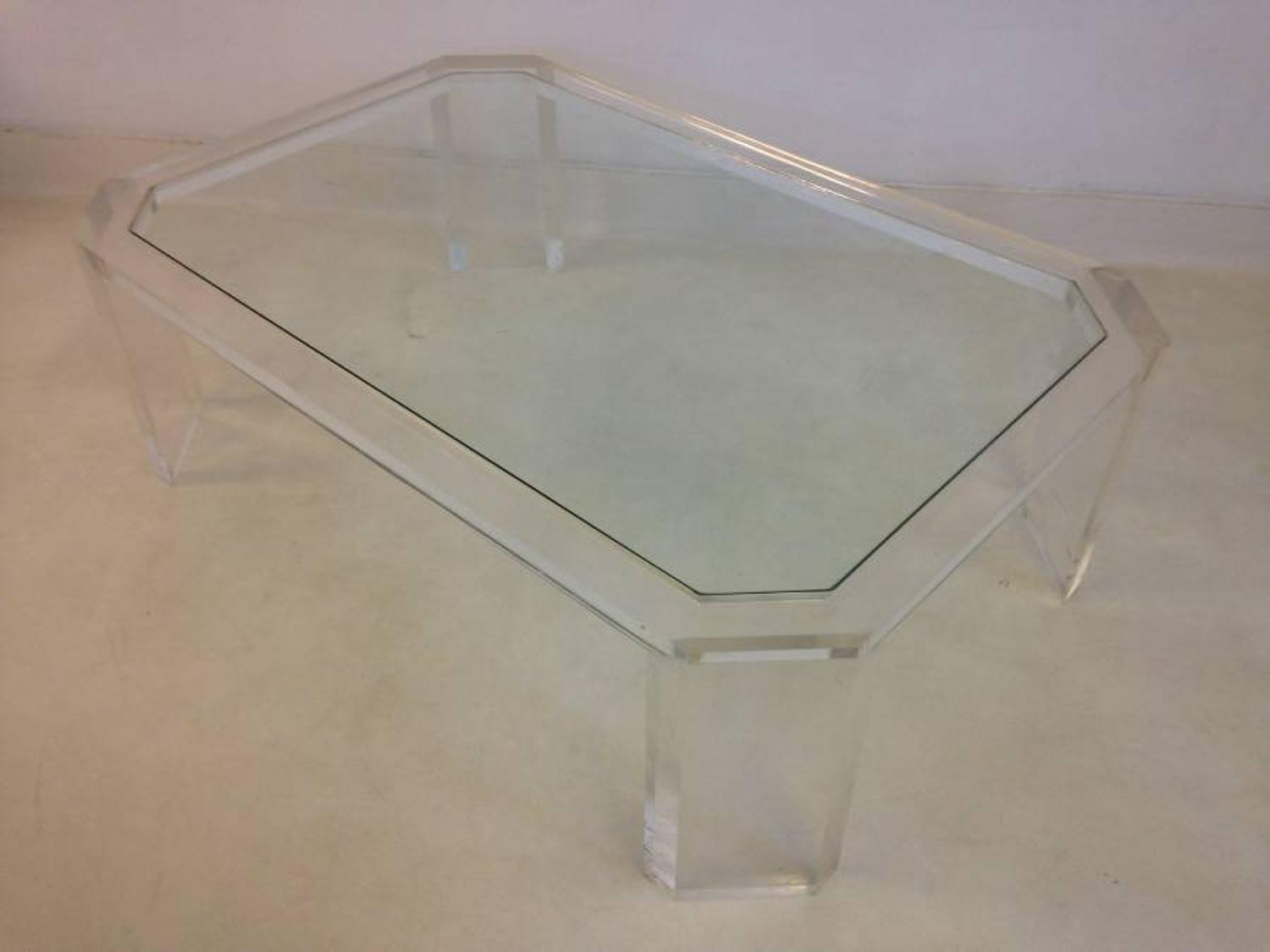 Canted edge lucite coffee table