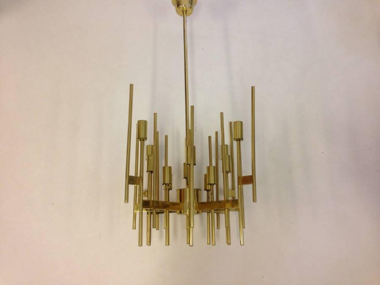 1970s brass chandelier