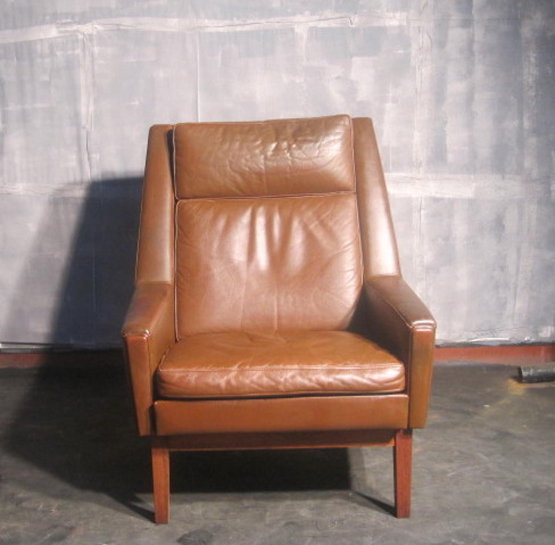 Danish leather highback armchair