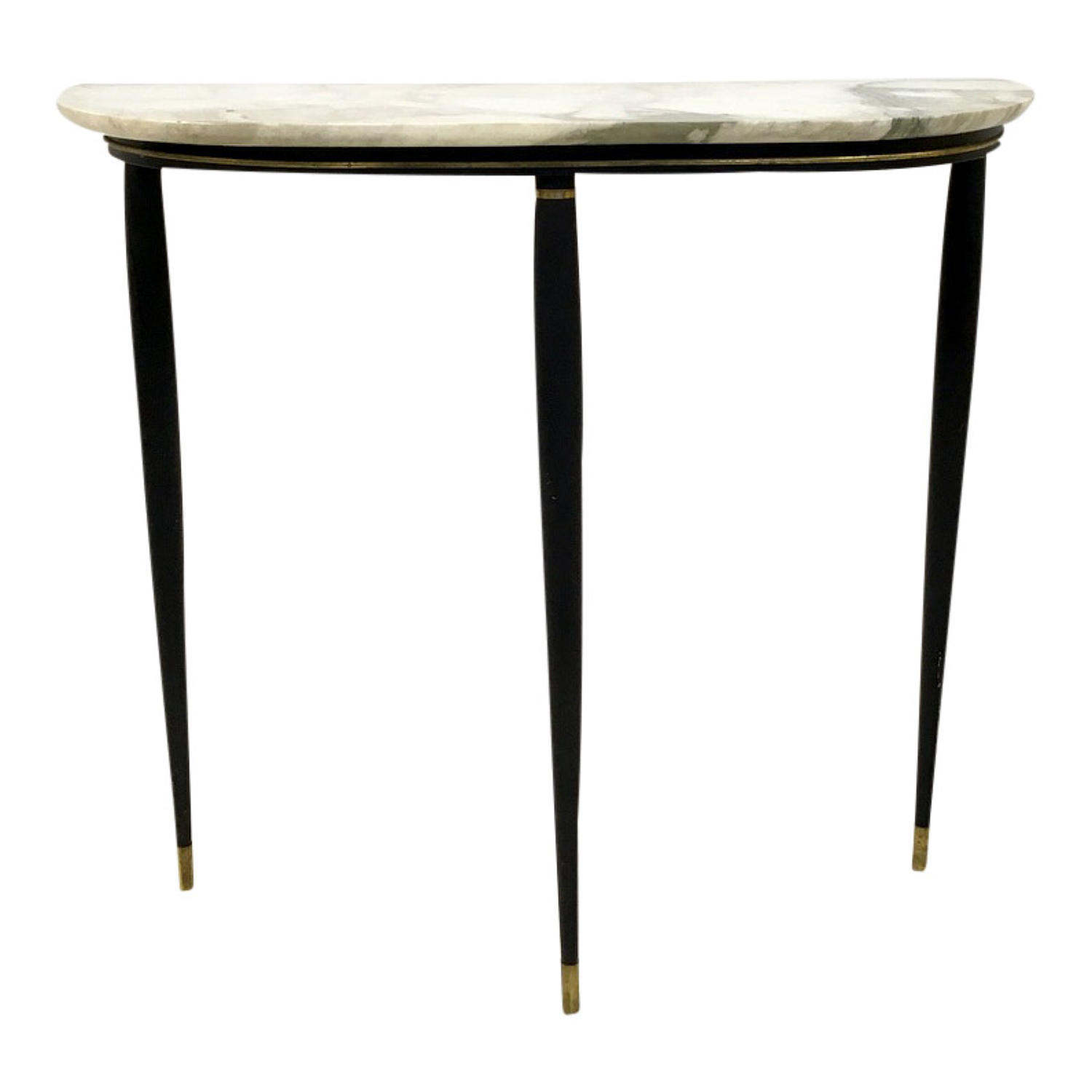 Italian marble, metal and brass console table