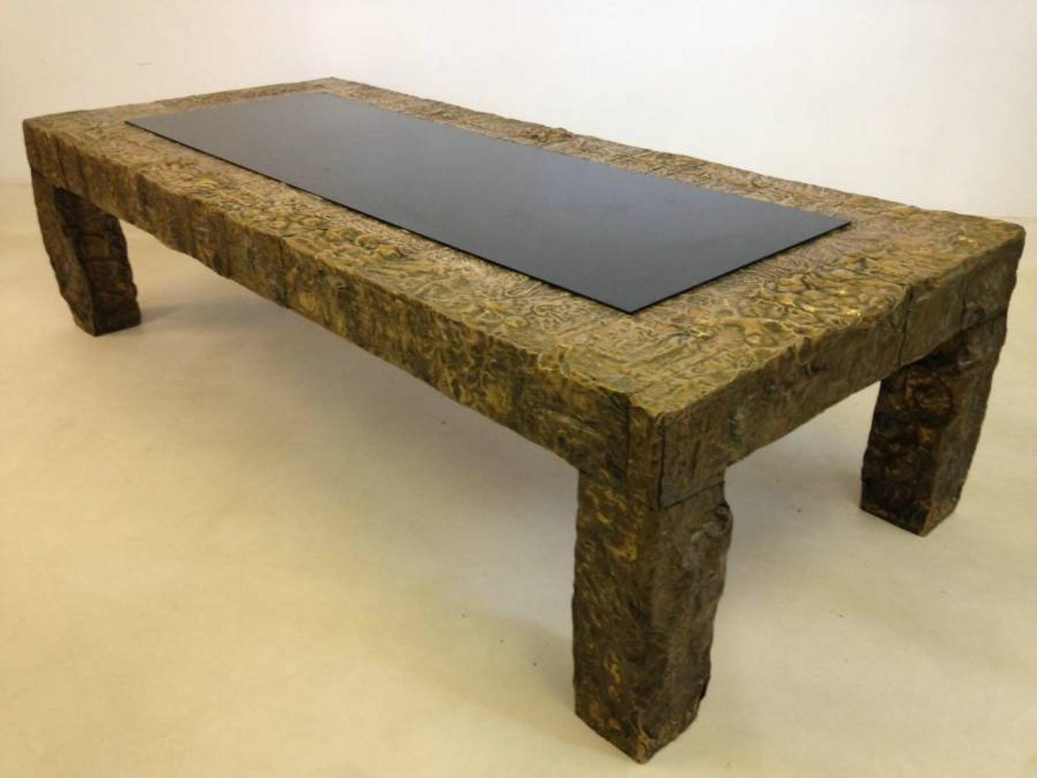 Sculpted brass brutalist coffee table