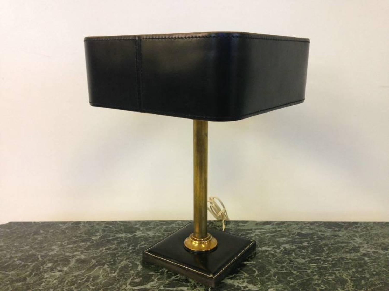 Brass and stitched leather lamp by Jaques Adnet