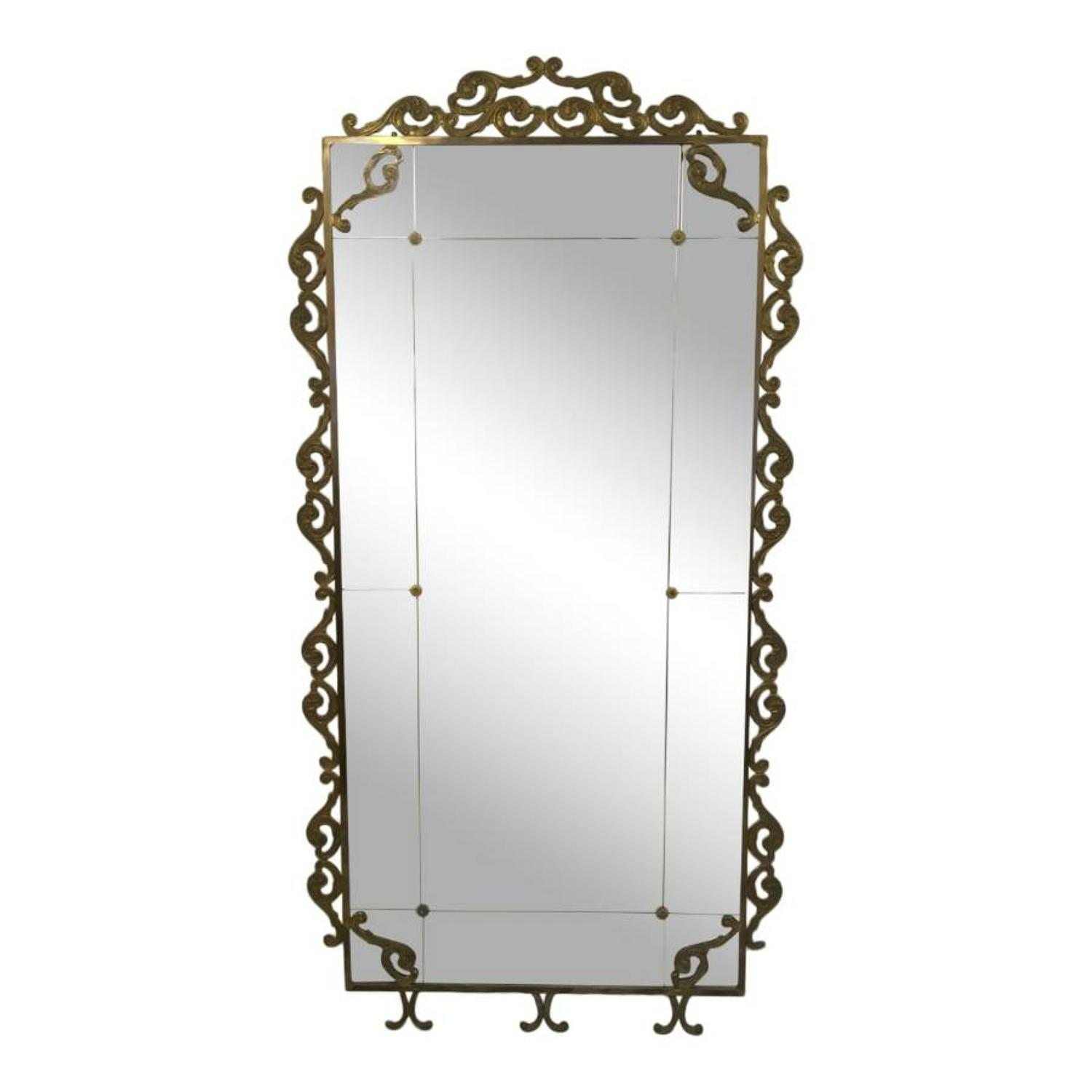 Large 1940s Italian brass floor standing mirror