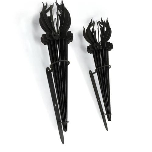 A pair of French iron torch wall sconces