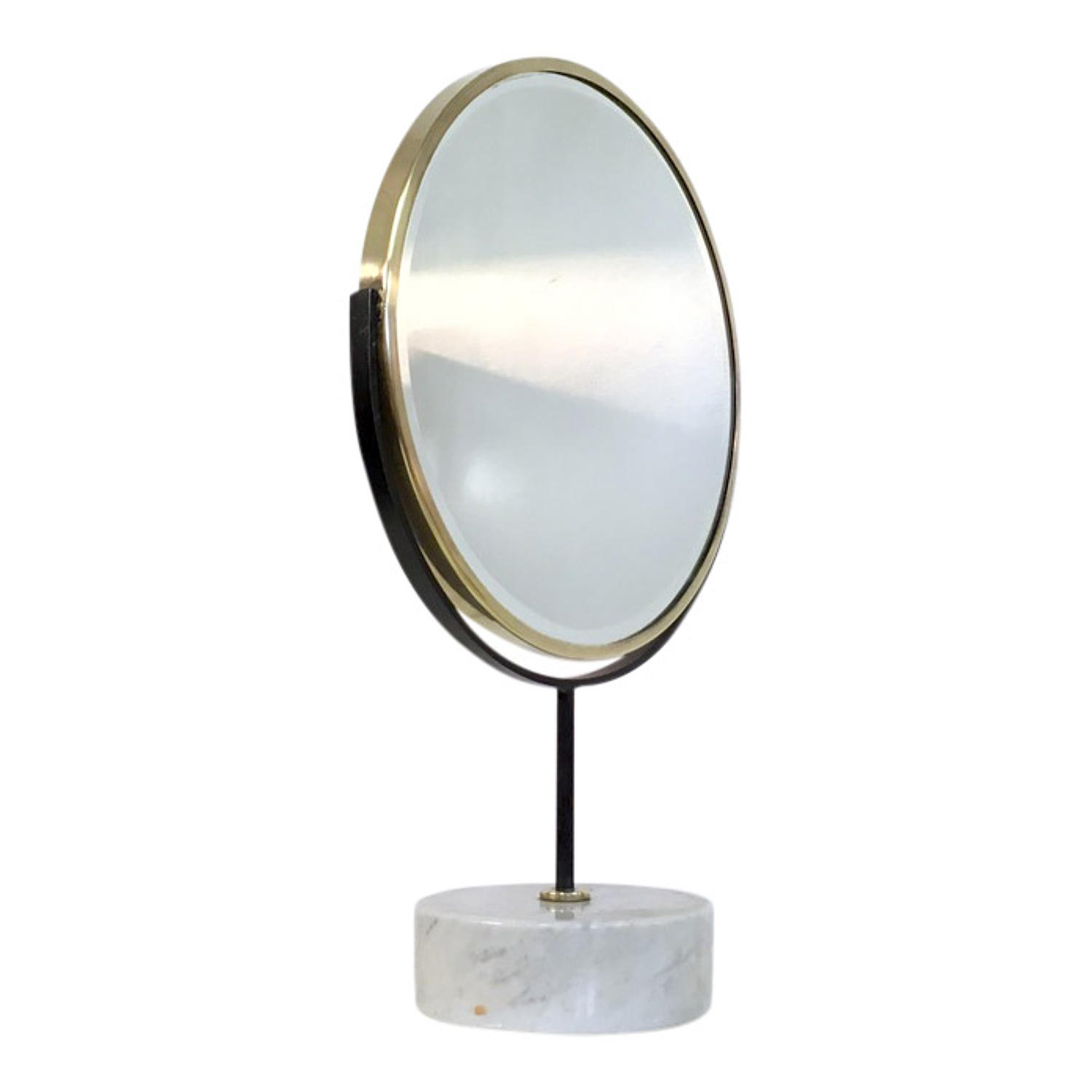 Brass and marble vanity mirror