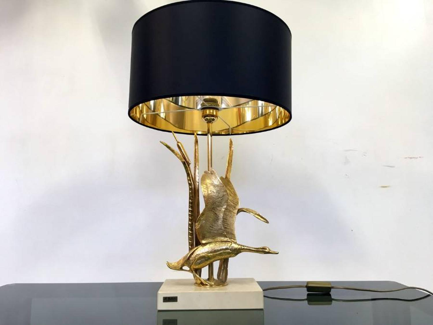 Brass swan and reeds lamp