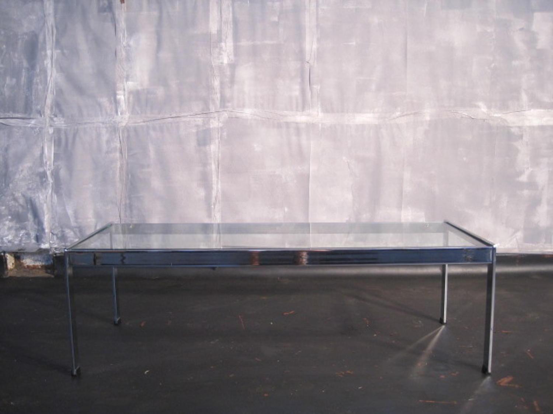 Merrow Associates chrome and glass coffee table