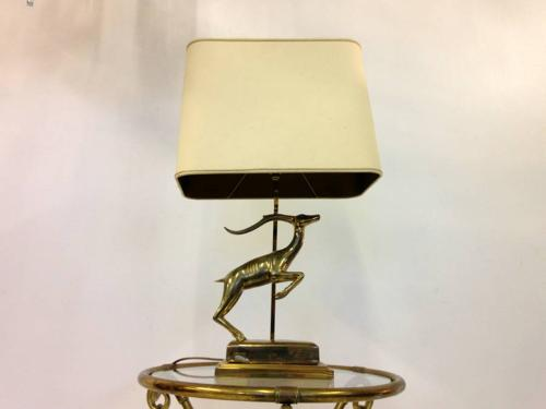 Brass antelope table lamp