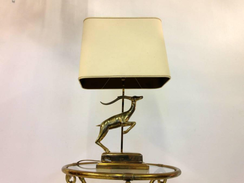 Brass antelope table lamp