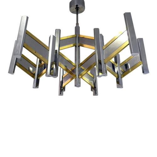 1970s chrome and brass chandelier by Sciolari