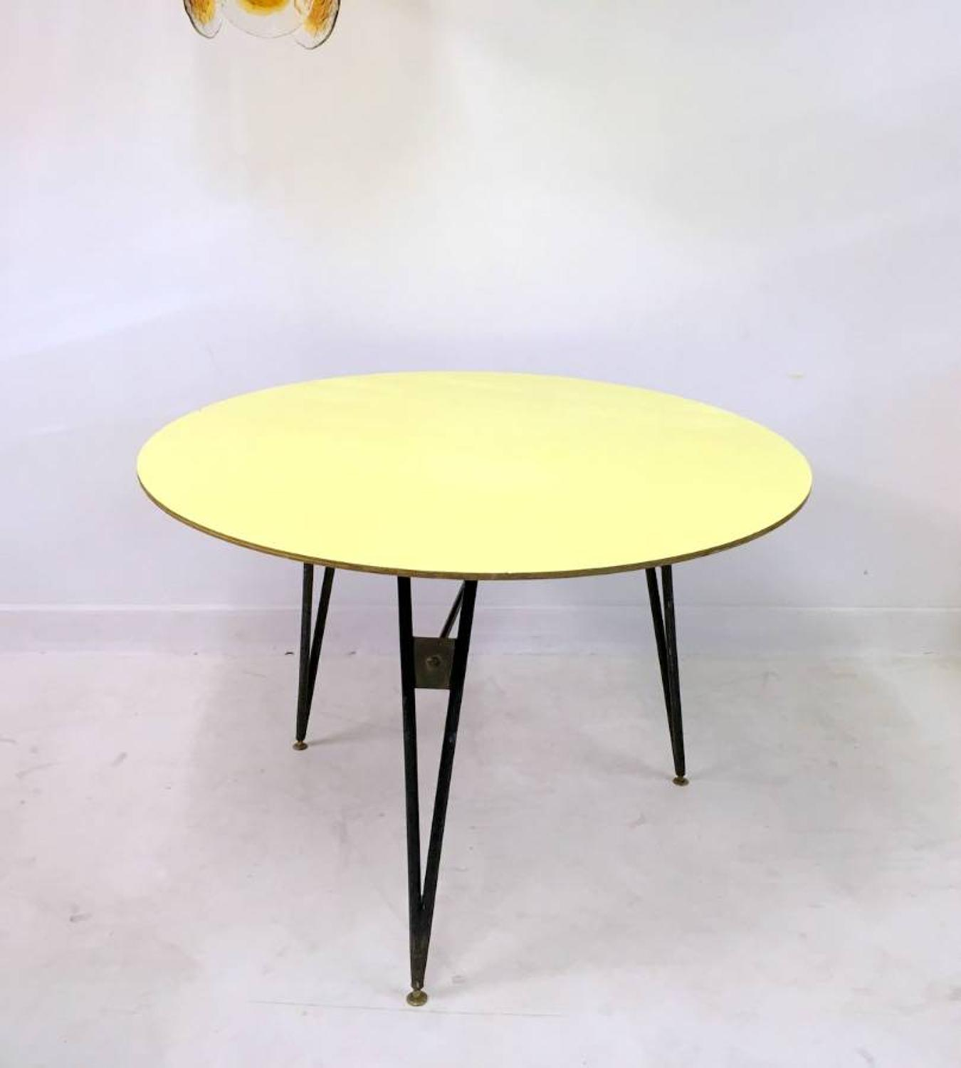 1950s Italian steel, brass and formica table
