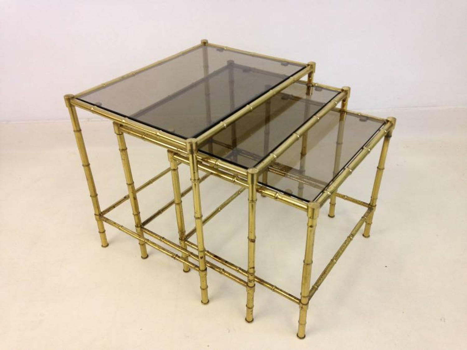 Brass faux bamboo nest of tables