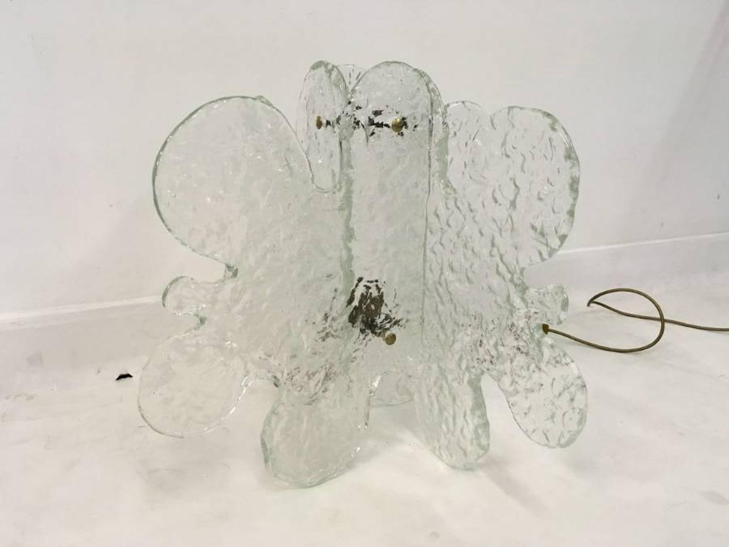 Italian glass abstract snowflake lamp
