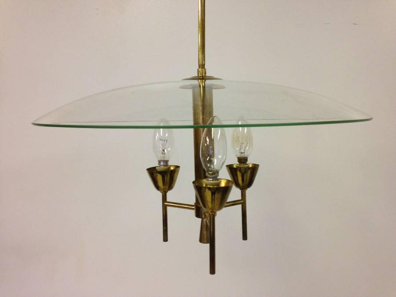 Italian glass and brass chandelier