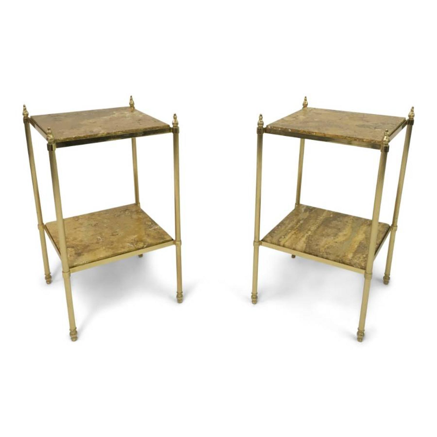A pair of French brass and stone side tables