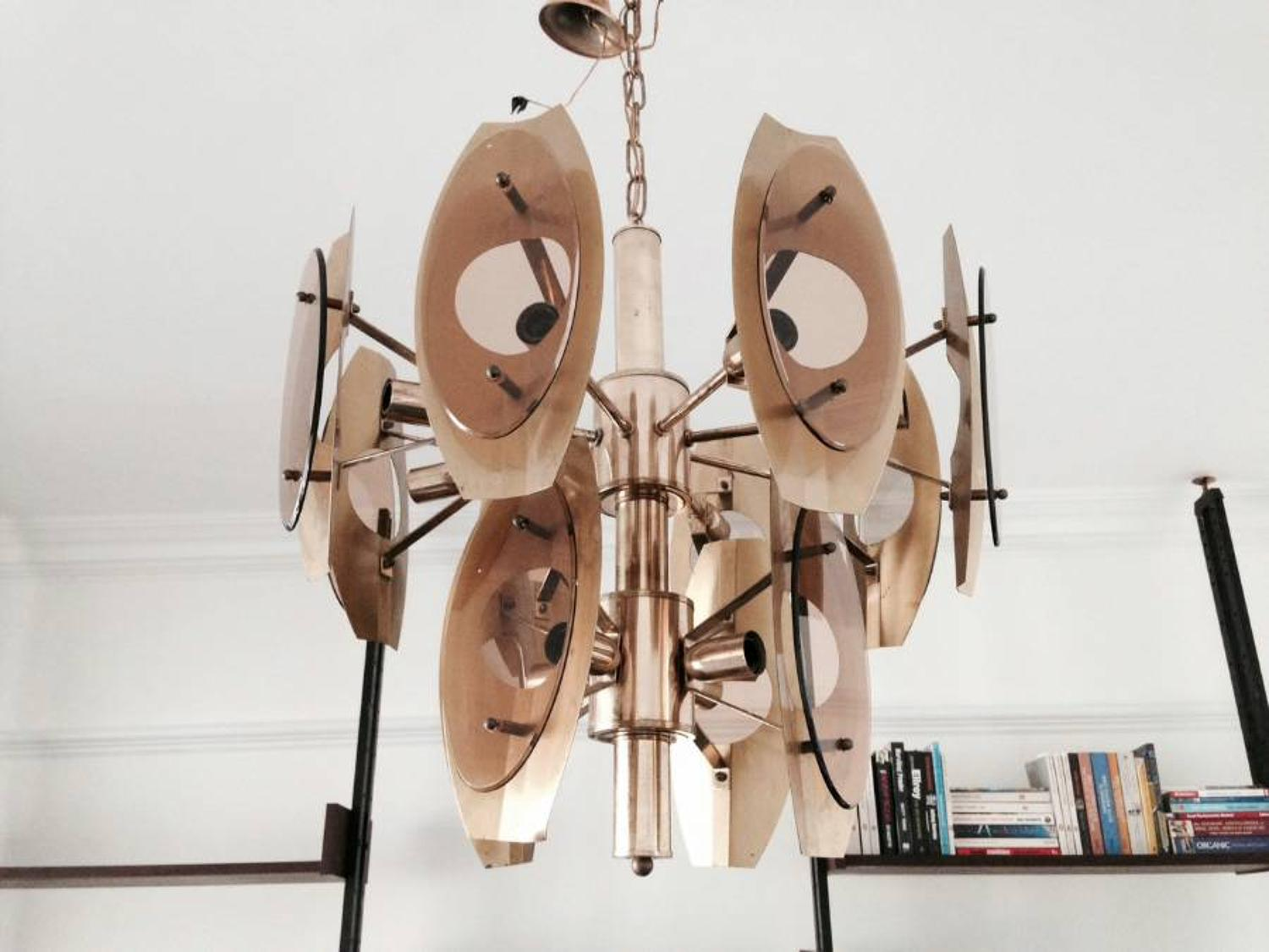 Italian brass and smoked glass chandelier