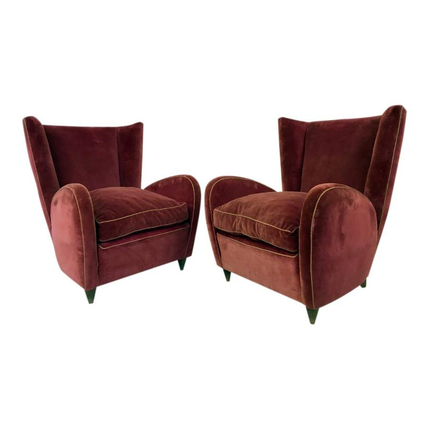 A pair of 1950s Italian armchairs by Paolo Buffa