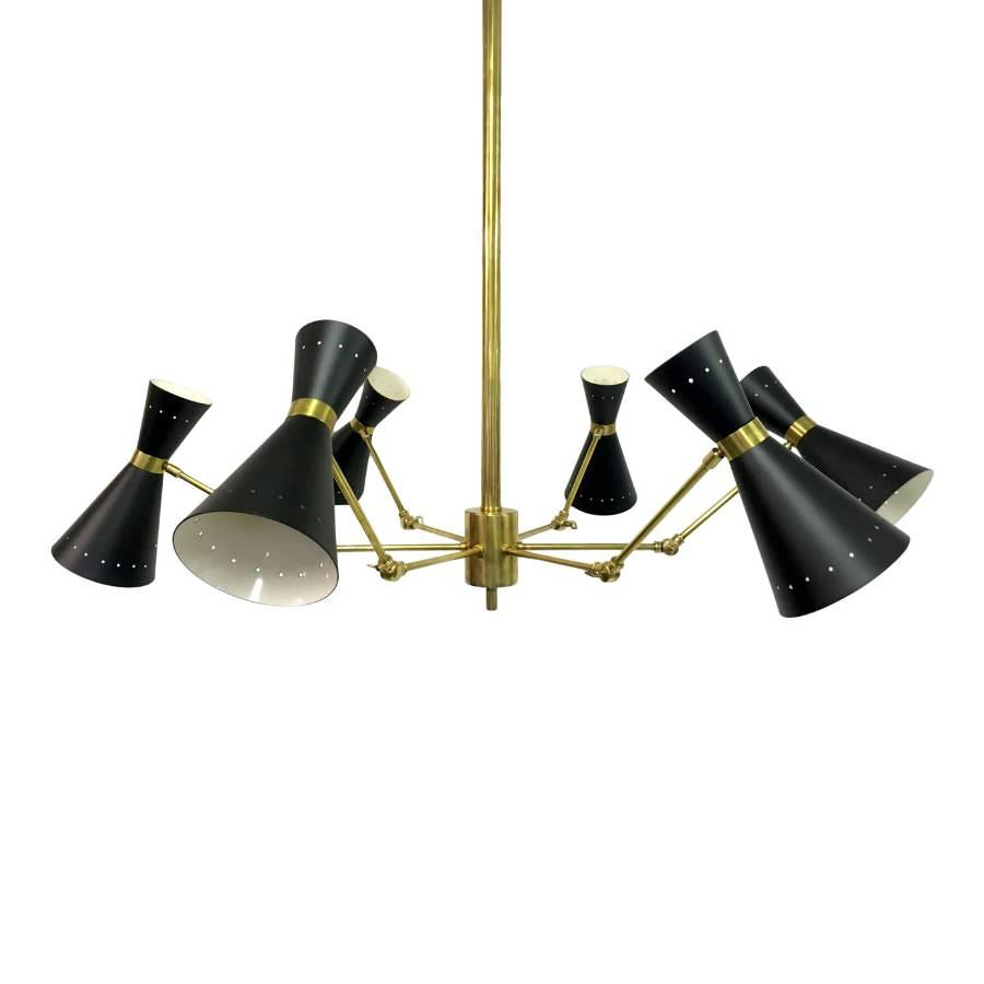 1950s style Italian brass and enamel ceiling light