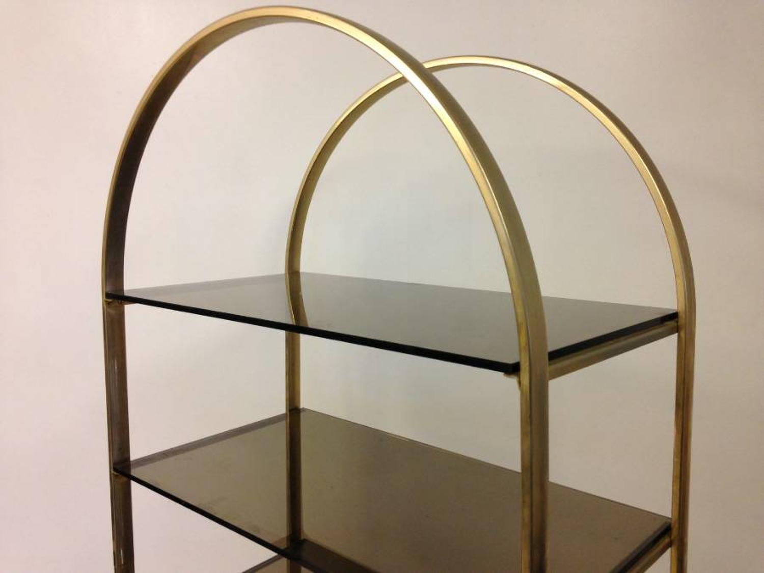Brass and smoked glass etagere