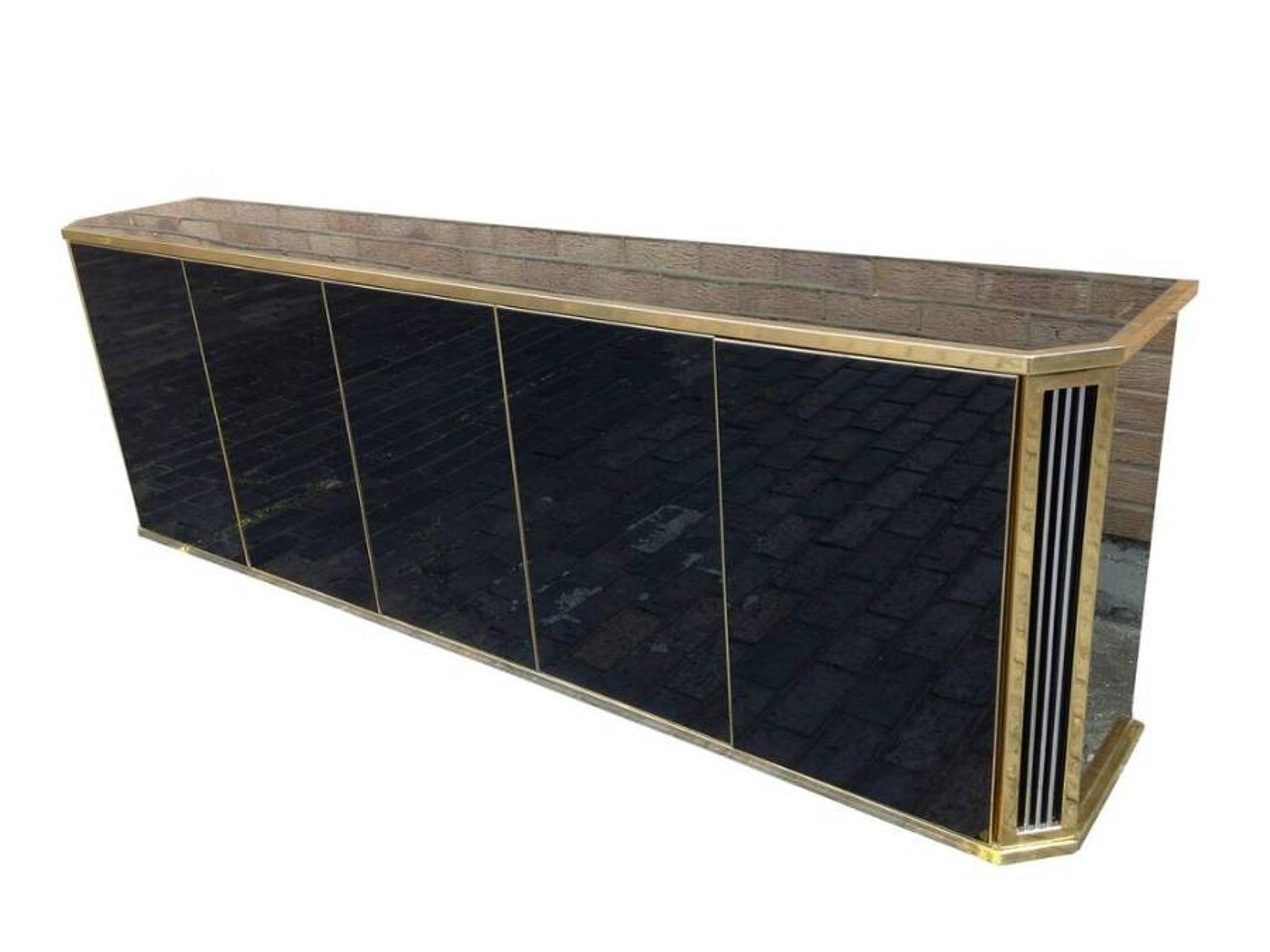 1970s black glass and brass credenza