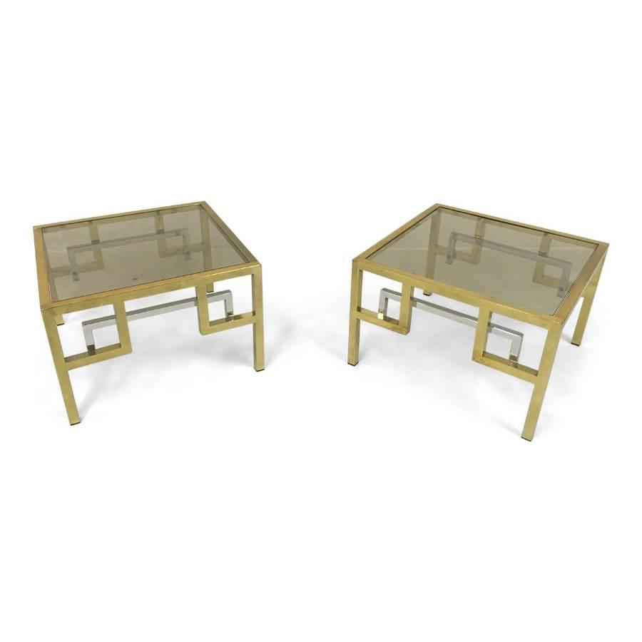 A pair of gilt metal and chrome side tables
