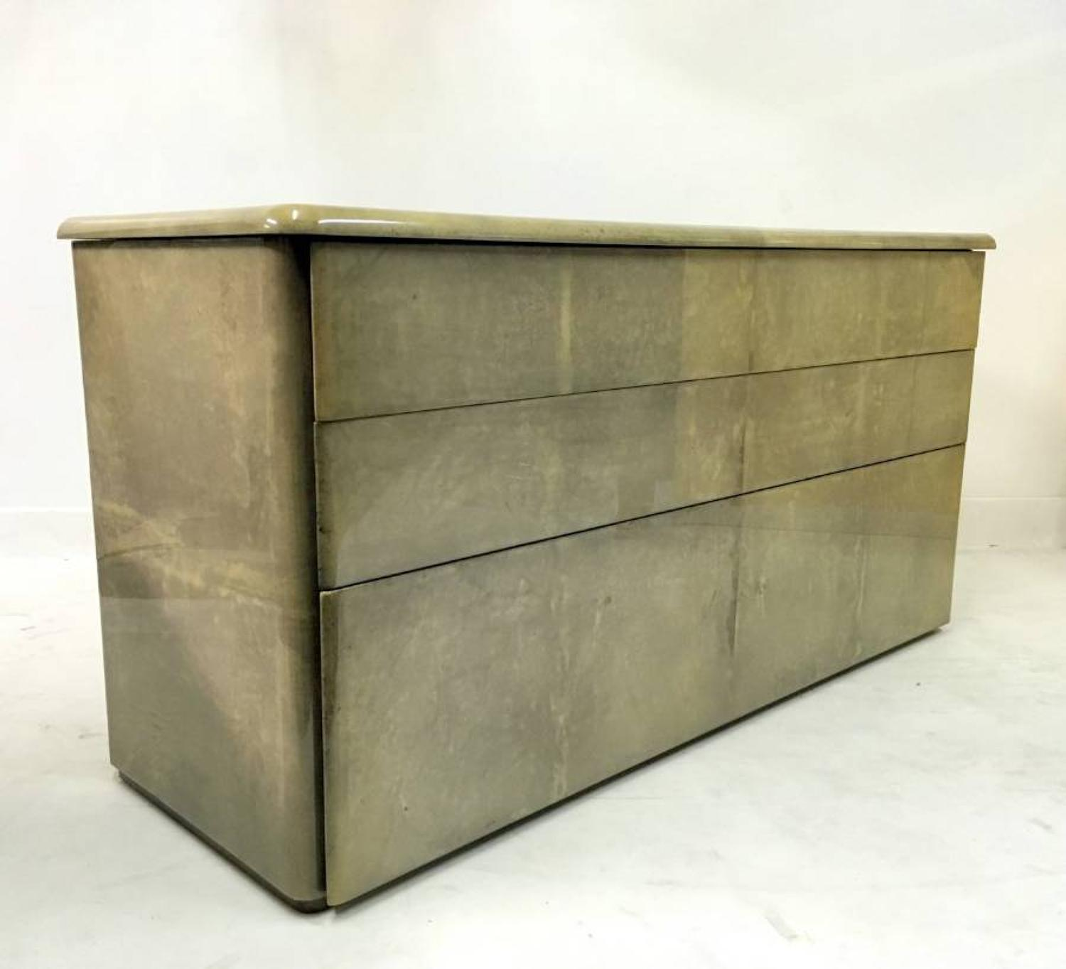 Lacquered goatskin or parchment chest of drawers