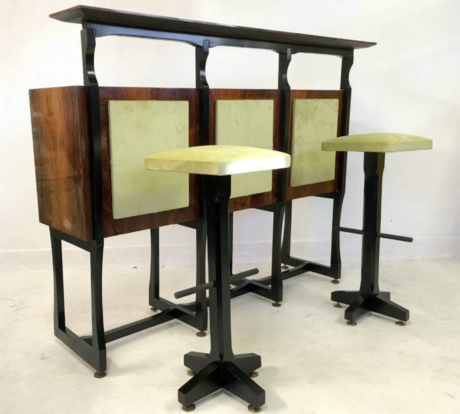 1960s Italian rosewood bar with two stools