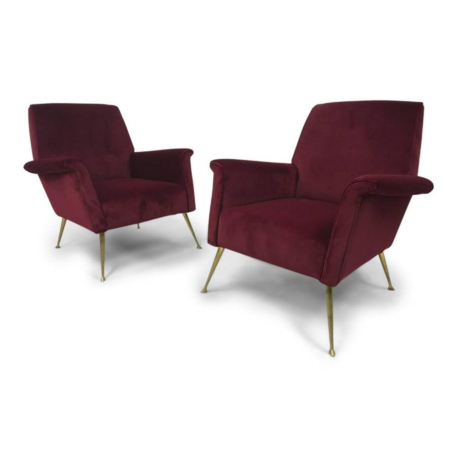 A pair of 1960s Italian armchairs in velvet