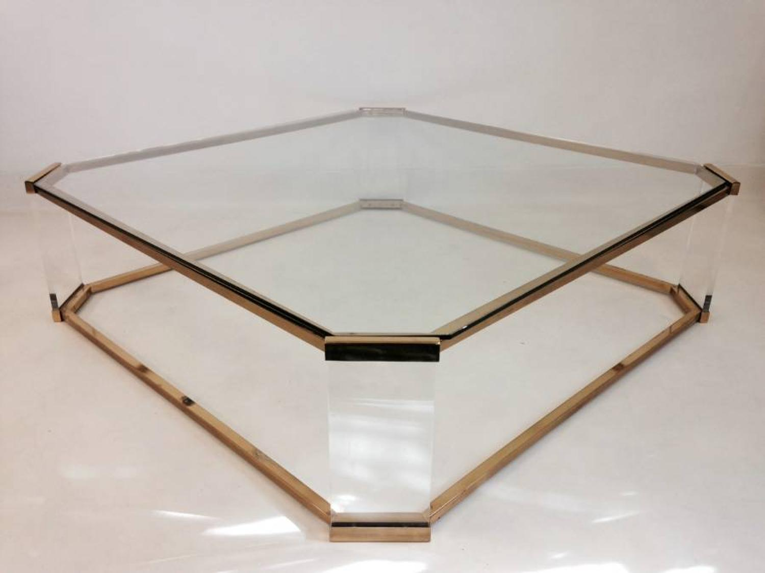 Large brass and lucite coffee table