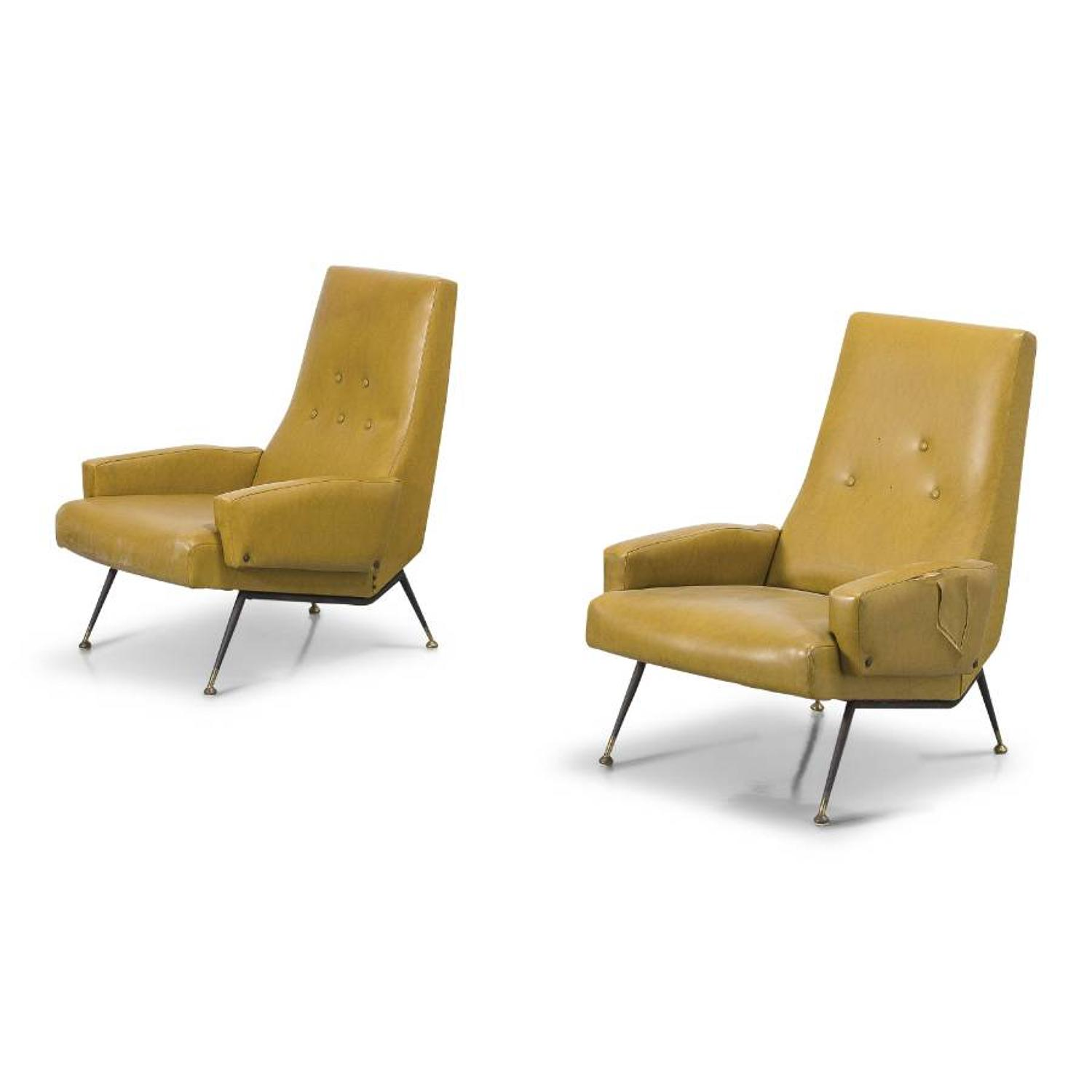 A pair of 1950s Italian armchairs with metal and brass legs