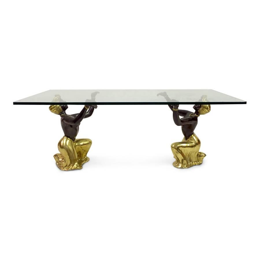 1970s Italian bronze blackamoor coffee table
