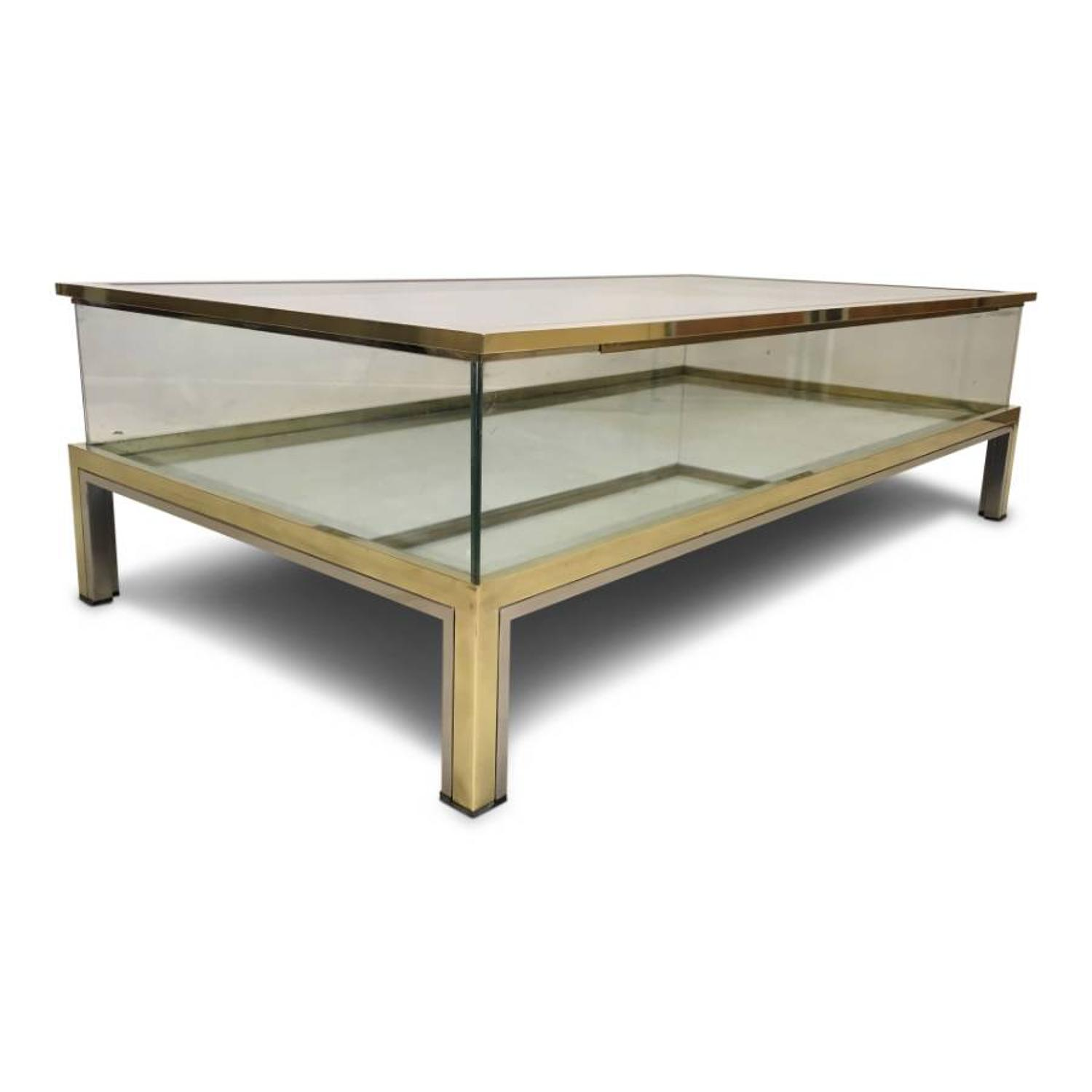 1970s brass and chrome sliding top coffee table