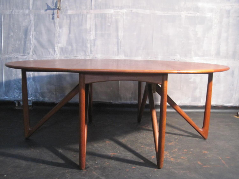 Teak drop leaf dining table by Kurt Ostervig