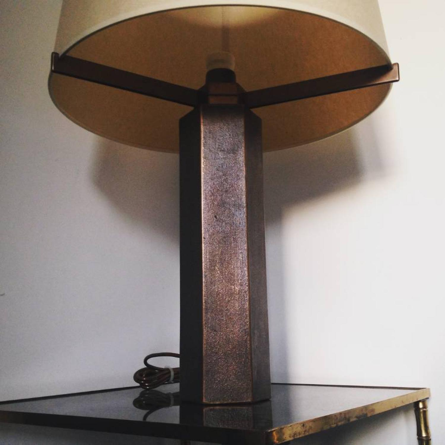 Hexagonal solid bronze table lamp by Jules Wabbes