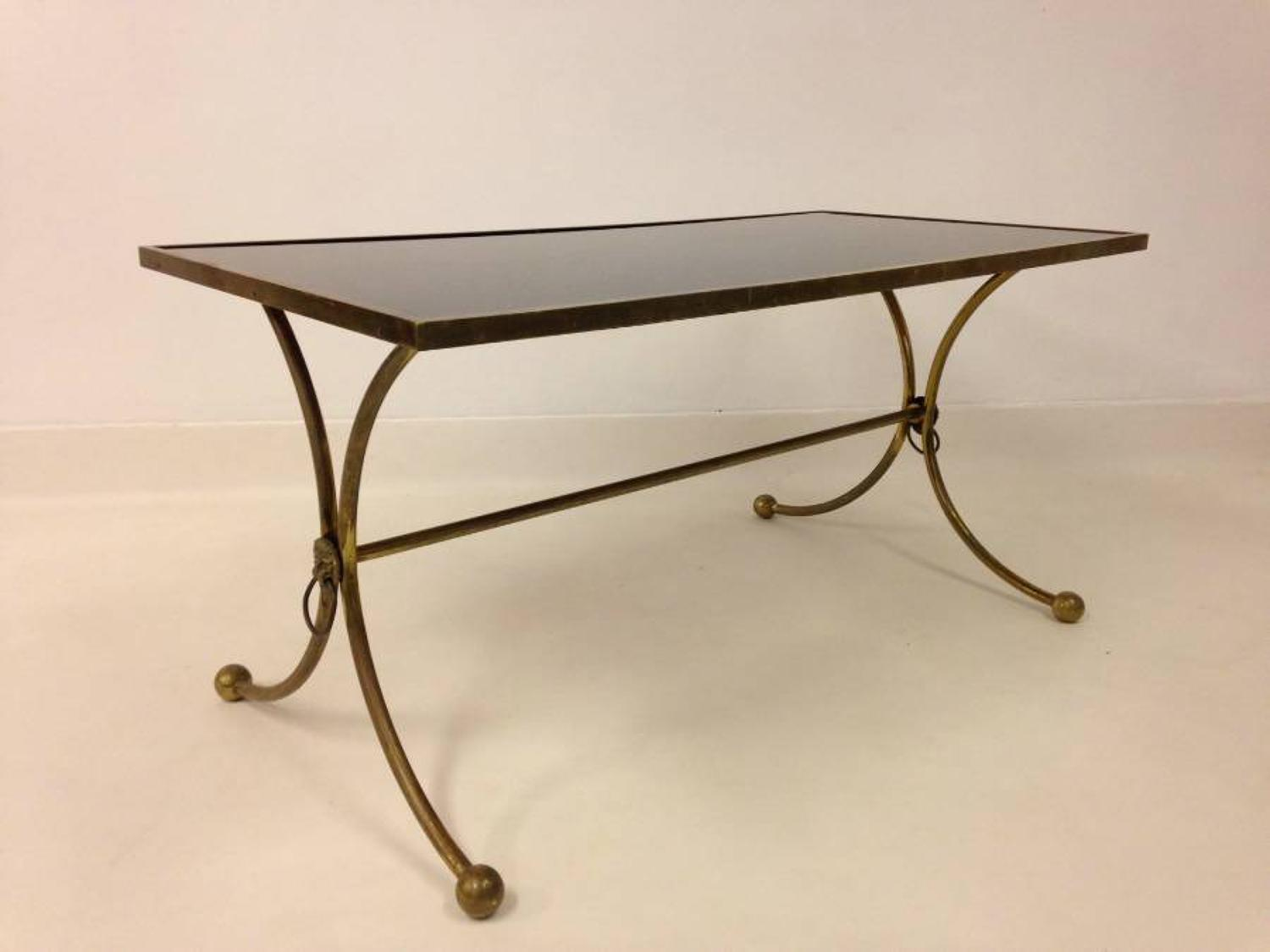 Italian brass and opaline glass coffee table