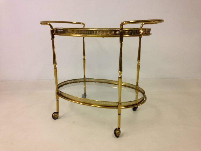 Italian brass trolley with trays