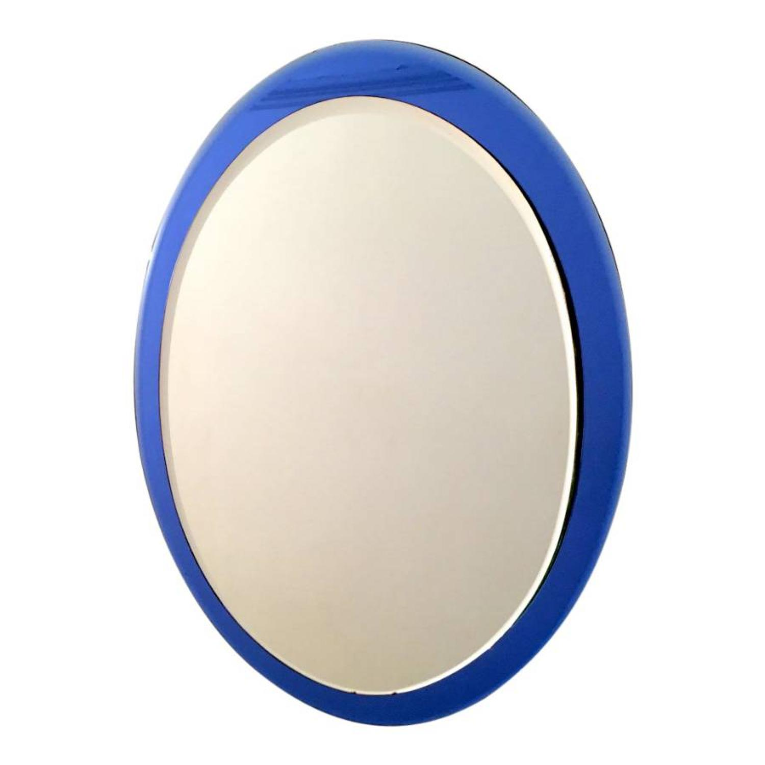 Italian mirror with blue glass frame
