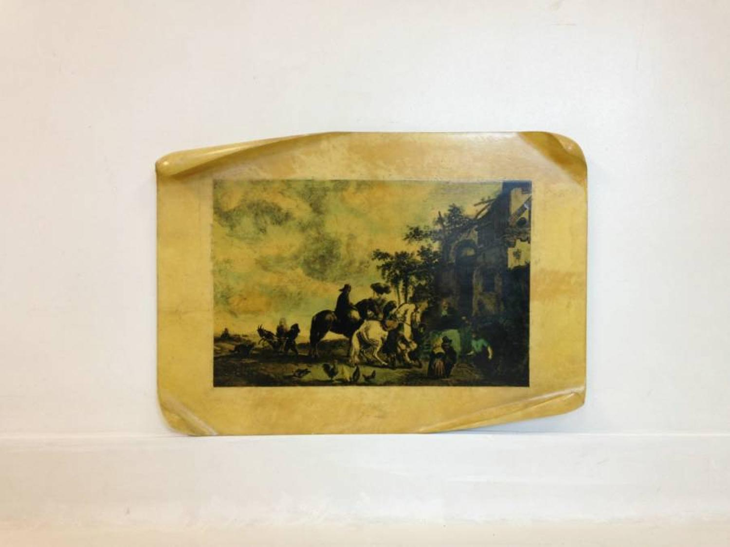 Lacquered parchment wall plaque by Aldo Tura