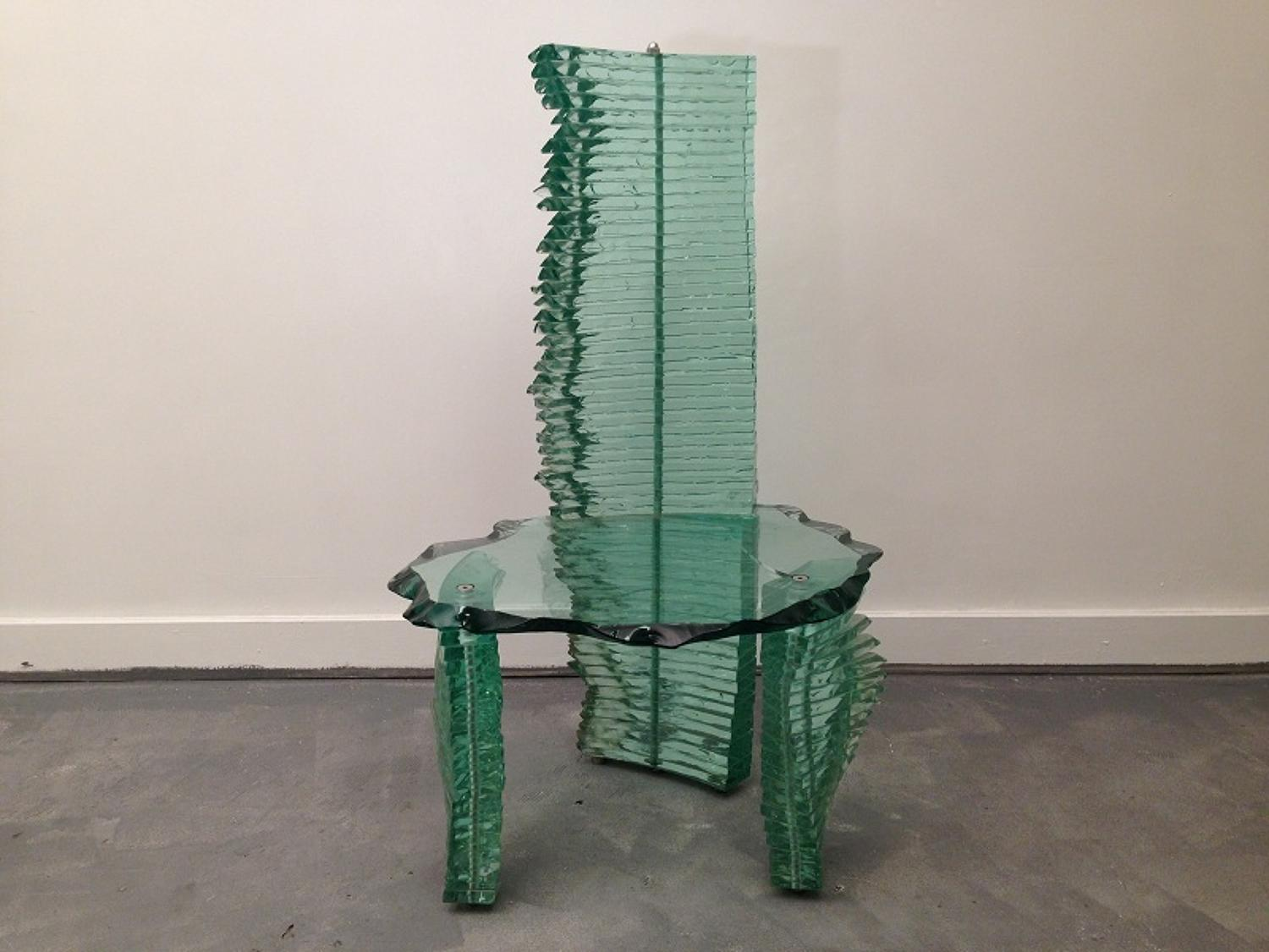 Danny Lane stacked float glass chair