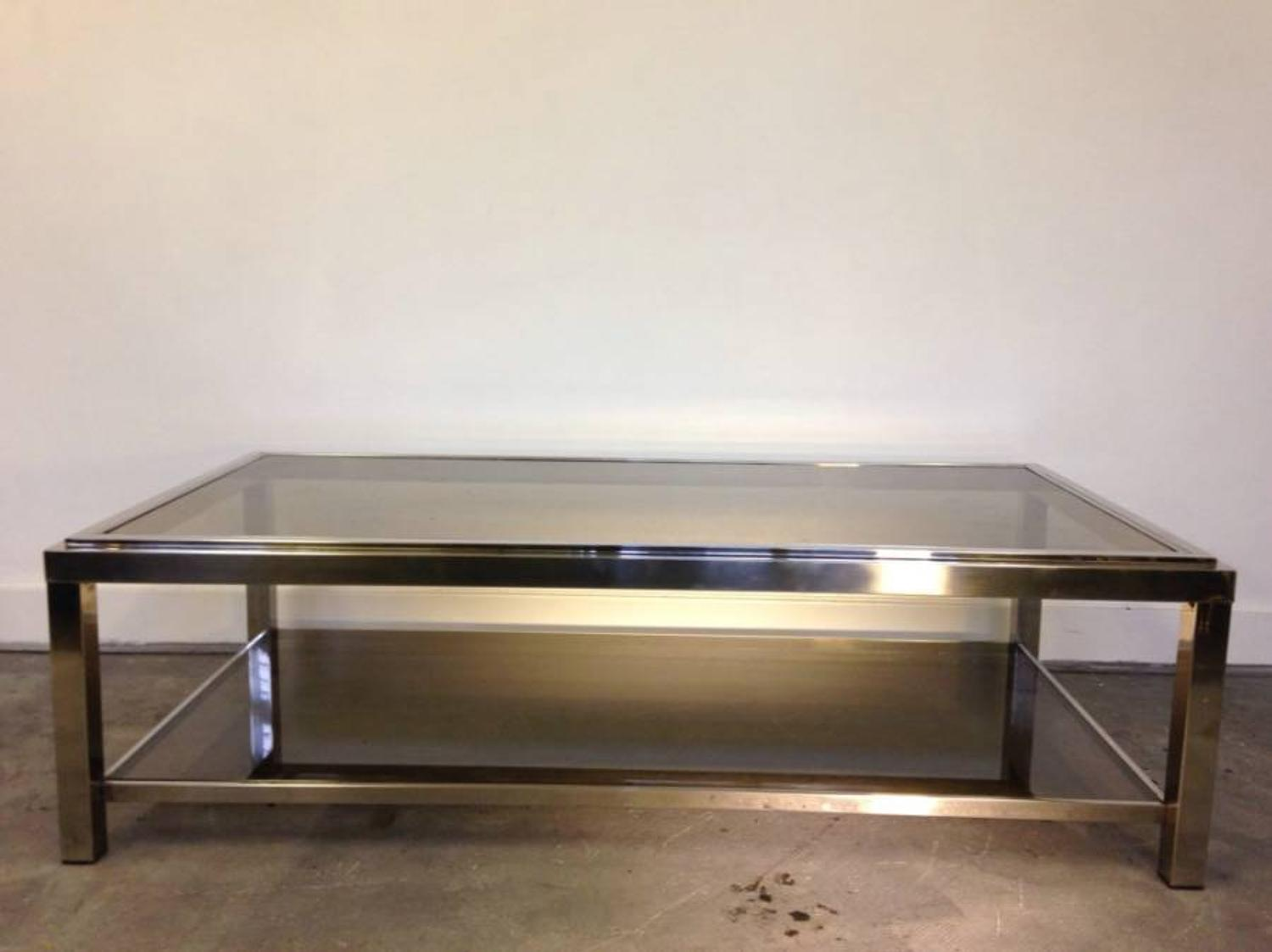 Chromed steel and smoked glass coffee table