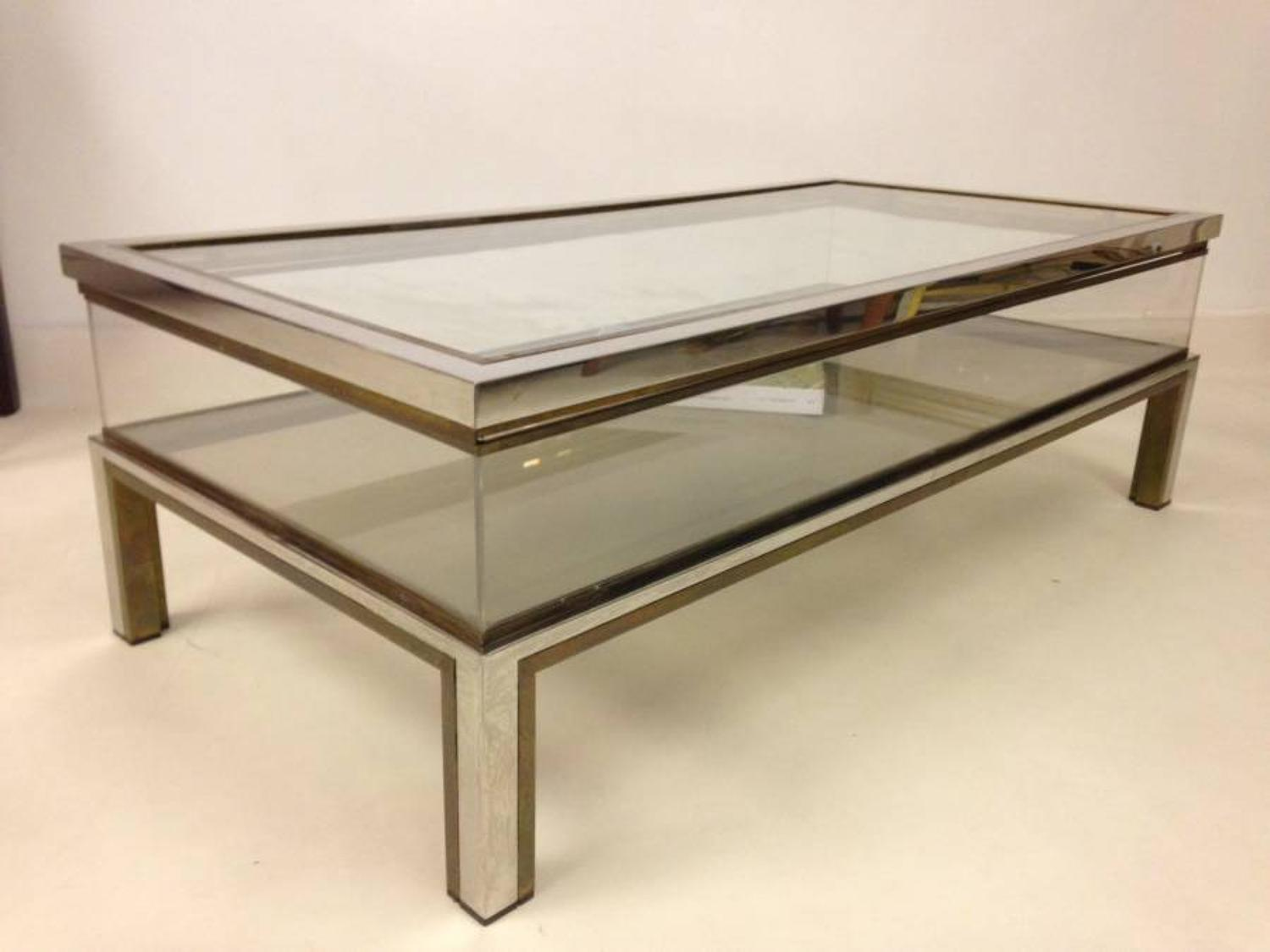 Chrome and brass sliding coffee table