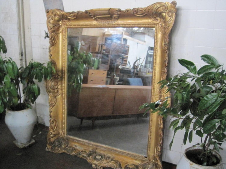 Large antique giltwood mirror