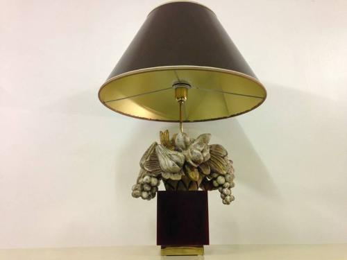 Carved wooden fruit and lucite lamp