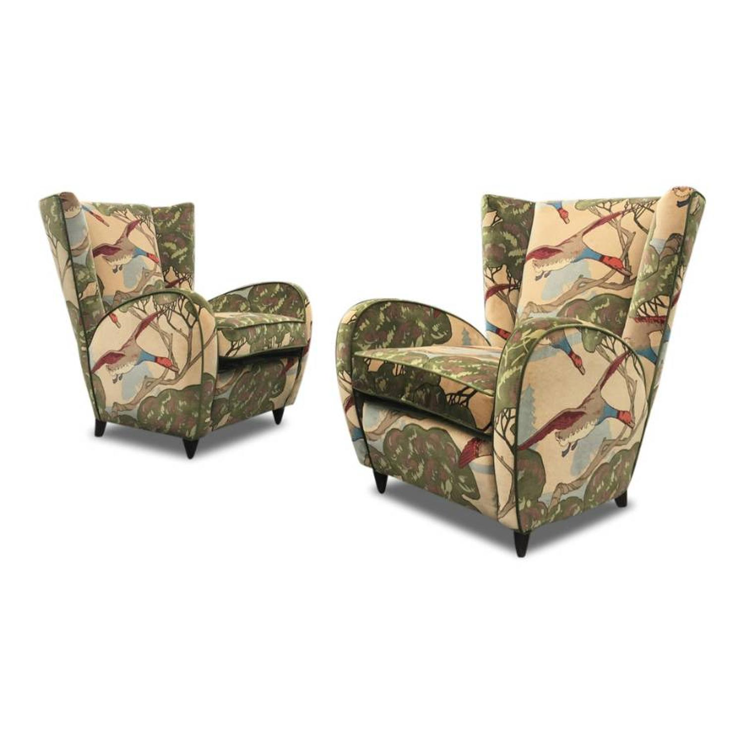 A pair of 1950s Italian armchairs in Mulberry Home Velvet